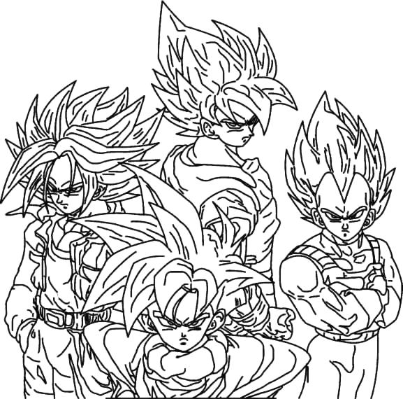 image,un coloriage de dragon ball sur la quelle on voie 4 supers ...